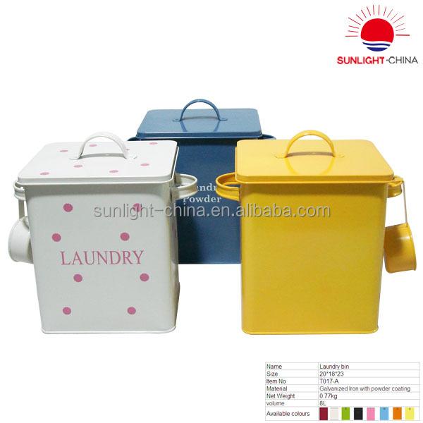 Small Metal Laundry Bin/metal Laundry Box With Scoop/galvanized Laundry Storage  Bins
