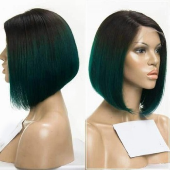 Light Green Ombre Lace Front Wig Remy 100 Human Hair Short Bob For Party