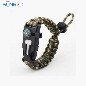 Adjustable Multifunctional Outdoor Survival Paracord Bracelet 5 In1 Kit Parachute Cord Compass Fire Starter Whistle