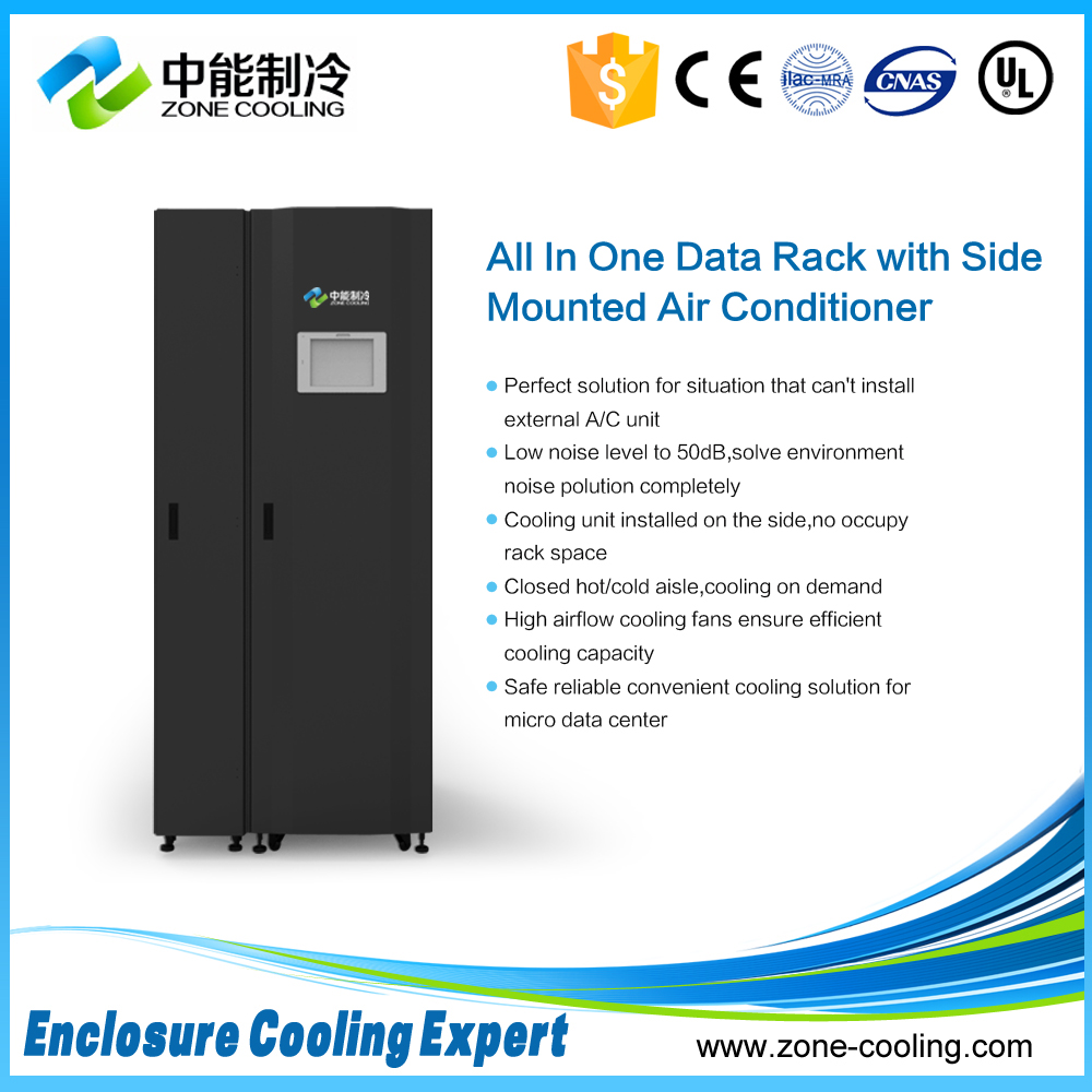 Integrated Server rack with side mounted air conditioning unit