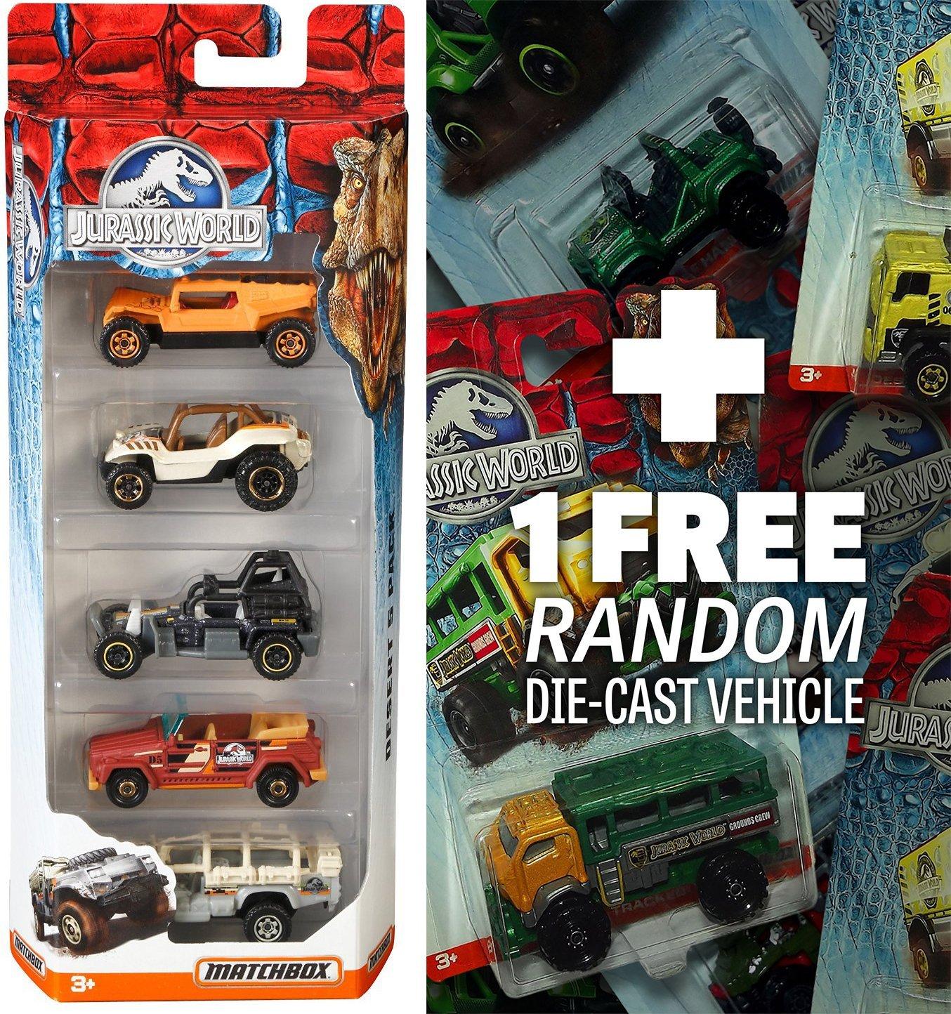 Jurassic World Land 5-Vehicle Pack (NOT RANDOMLY PICKED) + 1 FREE Official Jurassic World Matchbox Die-cast Vehicle Bundle [Set# CJM07]