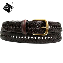 BT mens genuine leather woven braided belt with metal buckle