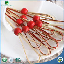 Red Wooden Bead Cocktail Disposable Bamboo Skewers Fruit Picks