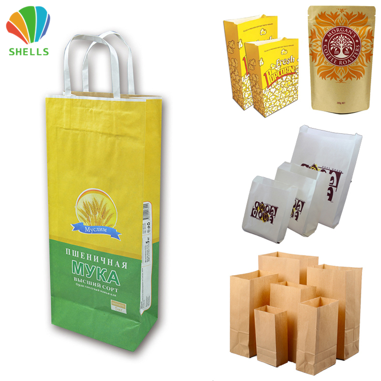 Popcorn Paper Bag Sealing For Spice Flour Packaging Rice French Fries Retail Snack Potato Chip Vegetable Fruit Protection Donut