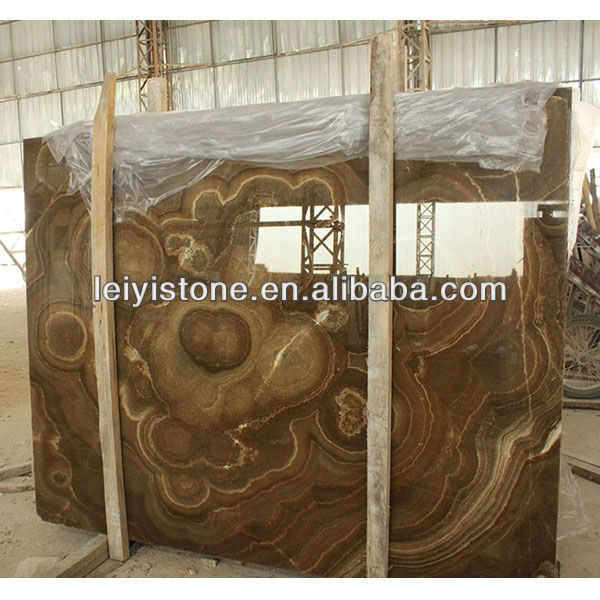 Brown Onyx Marble Slab With Beautiful Flower Picture