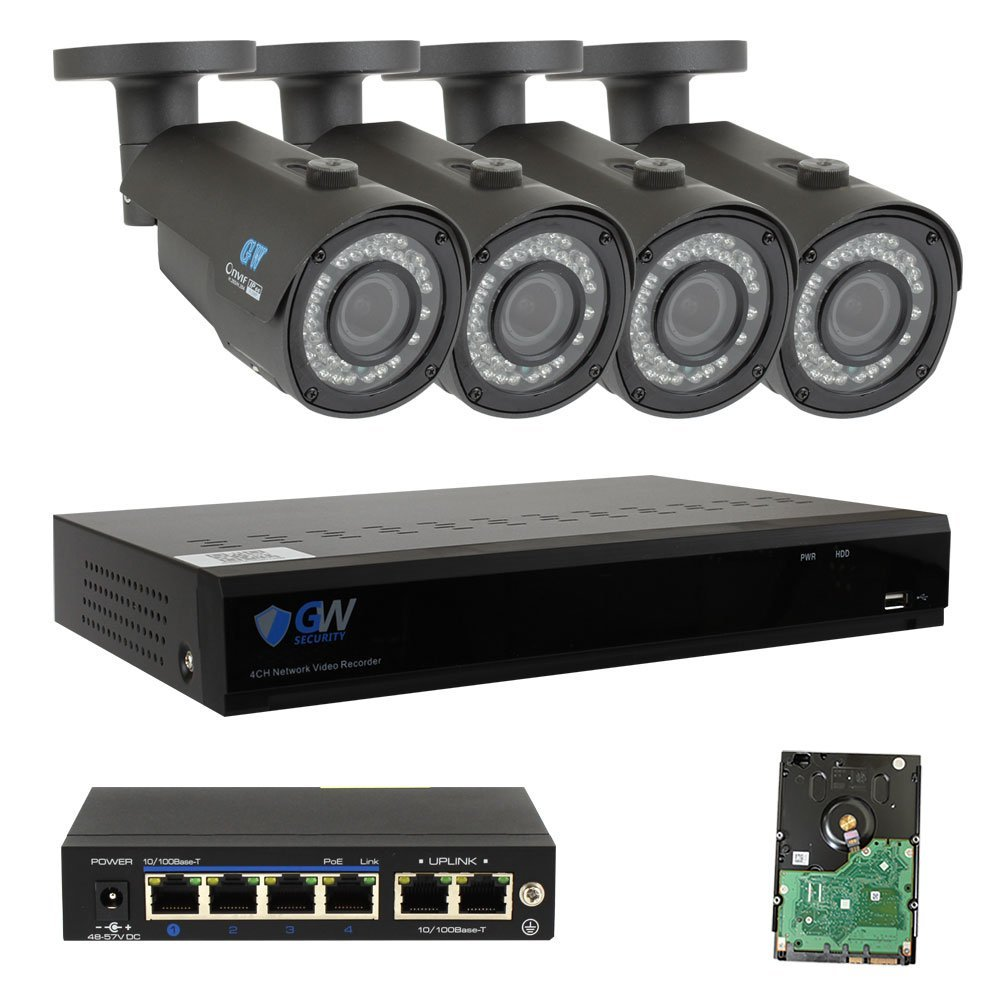 GW Security 4 Channel H.265 NVR 4 x 4MP 2.8-12mm Lens 42 LED IR Security Camera 2TB HD (No Ethernet Network Cable)