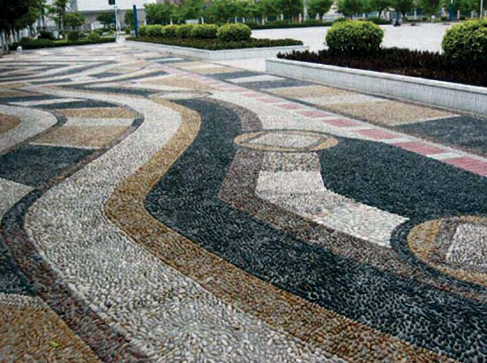 Hs Sz014 Bright Color Paving Stone Cobble Granite Crushed