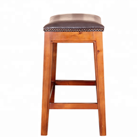 Country wood high used bar stool chair ancient dining and office saddle stool with footrests