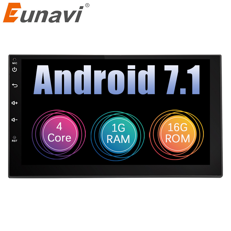 Eunavi 2 Din 7 ''Android 7.1 Universal Auto Radio Doppel din Stereo GPS Navigation In Dash Pc Video WIFI USB bluetooth Audio