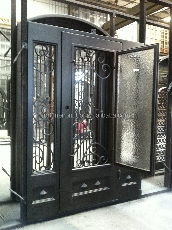 Double Swing Wrought Iron Door Main Entrance Doors And Windows