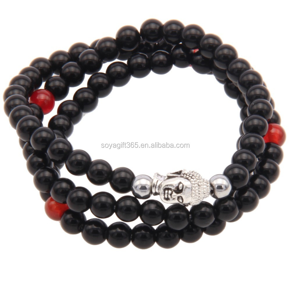 Black Beads Buddha Bracelet Three Layered Religion Tibet Charm Jewelry