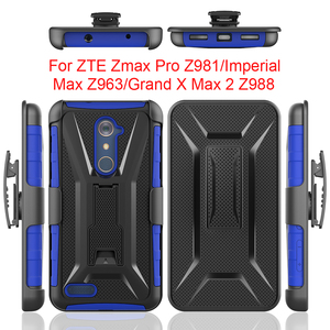 Hybrid 3in1 Heavy Duty Armor Cover Kickstand Belt Clip Holster Combo Rugged Case For ZTE Zmax Pro Z981/Imperial Max Z963/Grand X