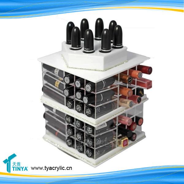 Engros 72 Slots 360 Degree Roterende Læbestift & Lip Balm Tower Stand Holder Pop Akryl Runde Kosmetiske Display Racks