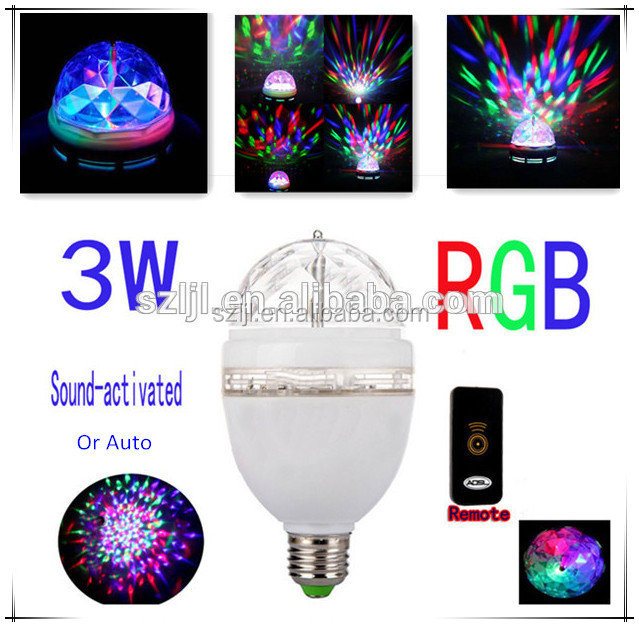 Remote Control AC85-260V RGB Color Rotating E27 Party LED Light <strong>Bulb</strong>