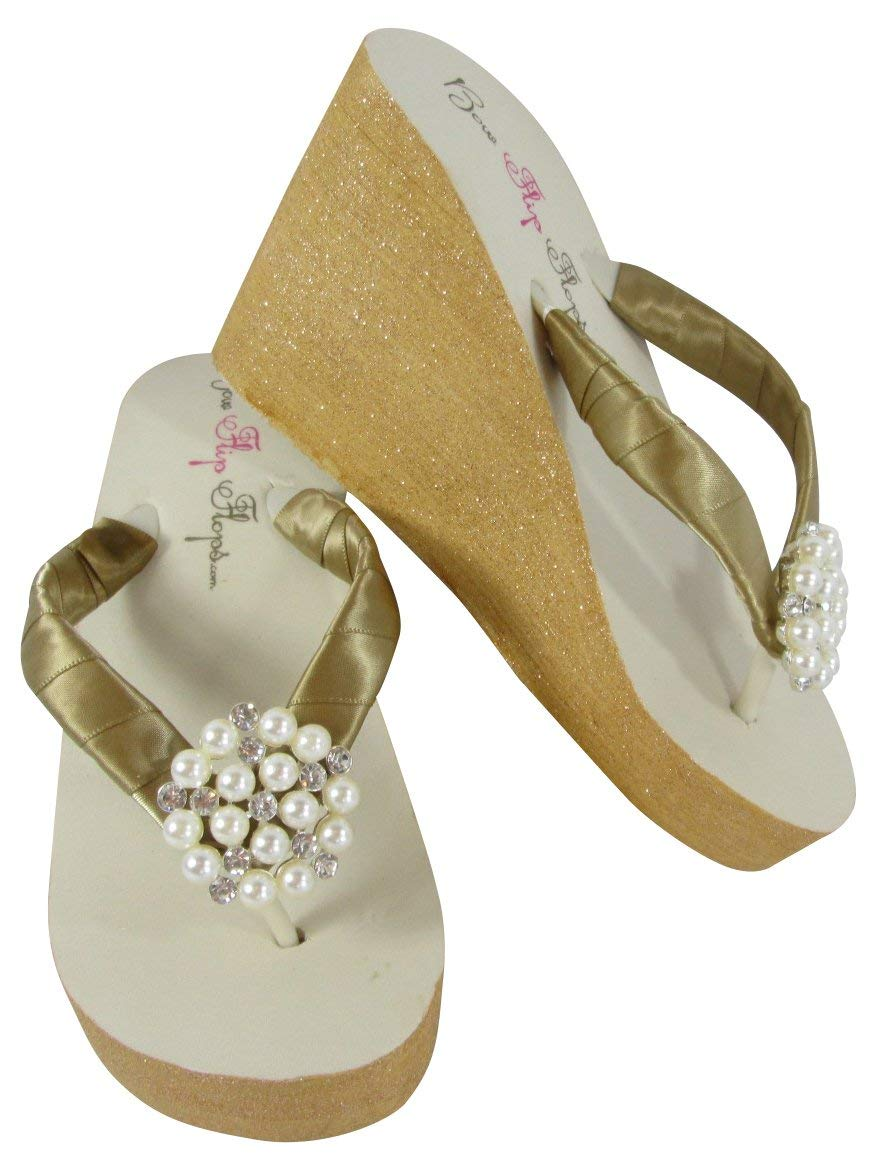 c11bf3b4c Get Quotations · Gold Ivory Custom Painted Wedge Flip Flops