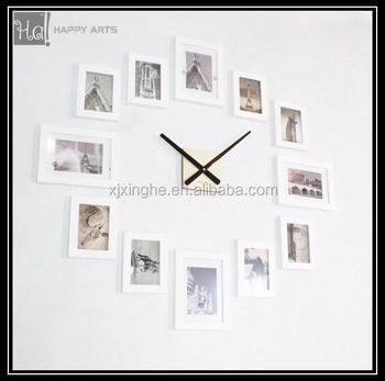 Wonderful Modern 12 Wood Wooden Photo Picture Frame DIY Wall Clock Frame