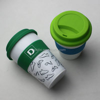 Plastic PP Travel Keep Cup Coffee Mug with PE lid and Silicone Band for Starbucks