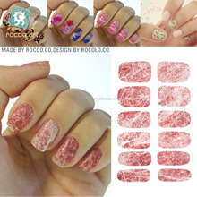K5740/Transfer Air Decal Nail Foil Sticker Art Sexy <span class=keywords><strong>Darah</strong></span> Rose Pink Batu Marmer Batu Nail Wraps Sticker Manicure Decals