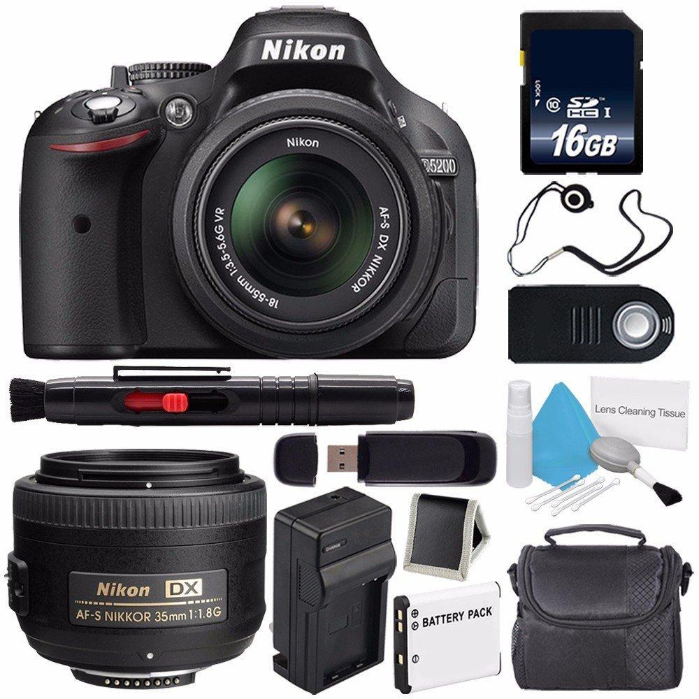 Nikon D5200 Digital Camera w/ 18-55 VR II Lens (International Model) + Nikon AF-S DX NIKKOR 35mm f/1.8G Lens + 16GB SDHC Class 10 Memory Card + SD Card USB Reader Bundle 67