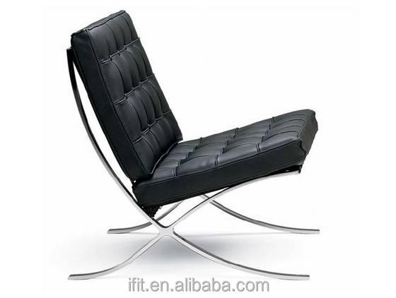 Hoge kwaliteit zwart leren stoel lederen bank met een roestvrij