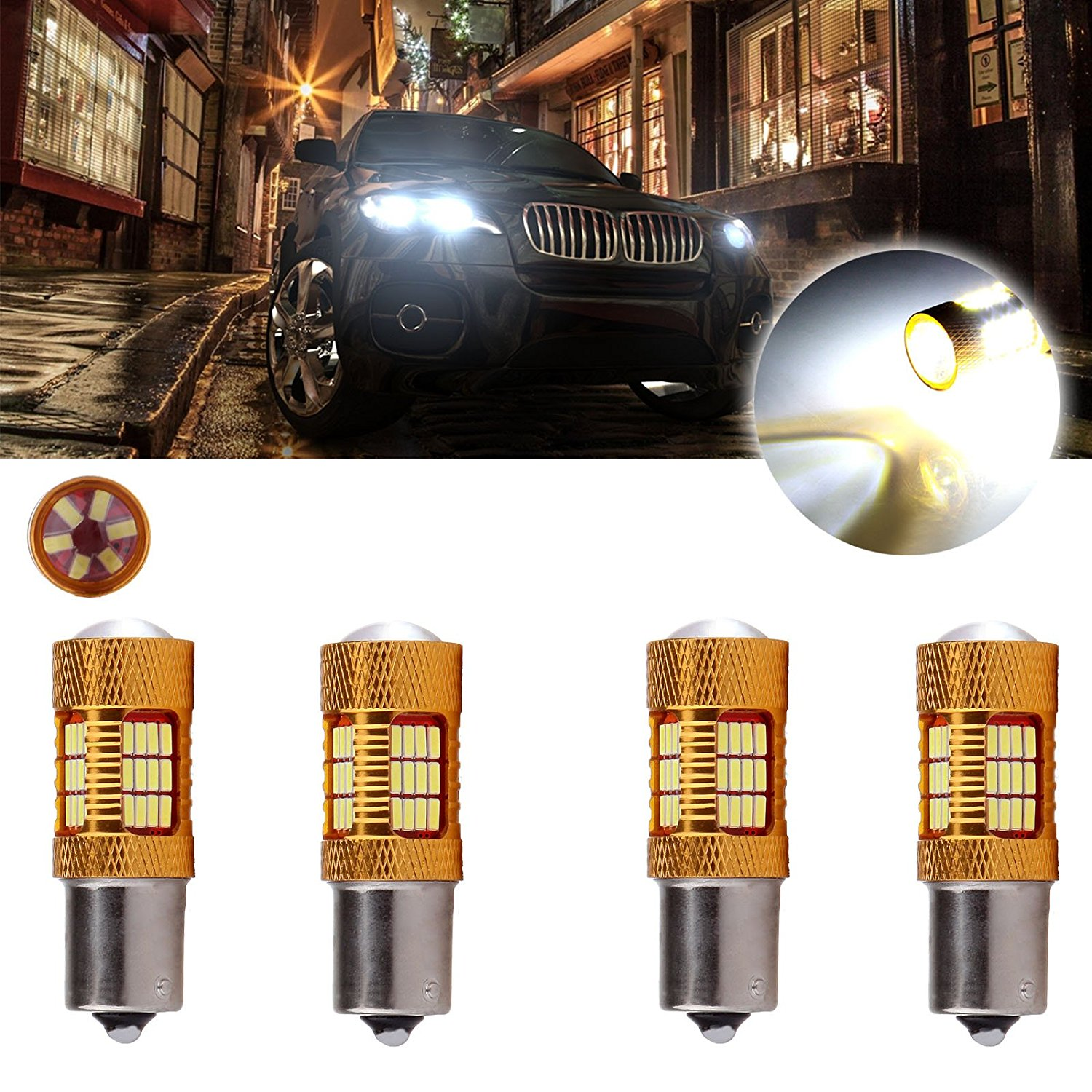 CCIYU 4 Pack Xenon White 6000K 60W 6000LM 1156 BA15S Cree LED 54 4014 SMD Backup Reverse Light