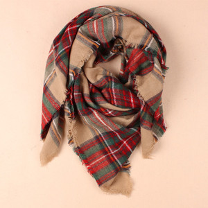 fashion square tartan pashmina