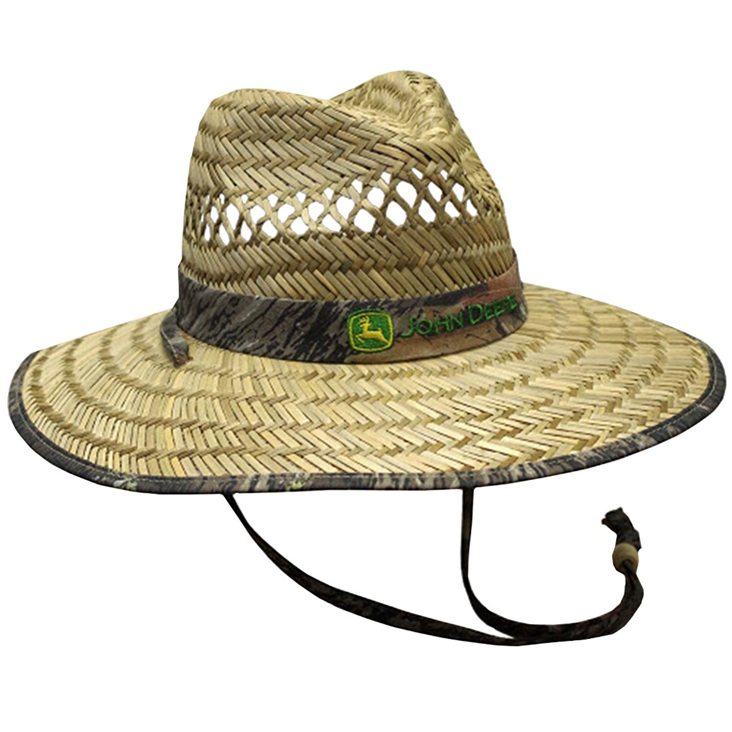 3dc1221e7e6 Get Quotations · John Deere Brand Camo Straw Hat With Neck Strap