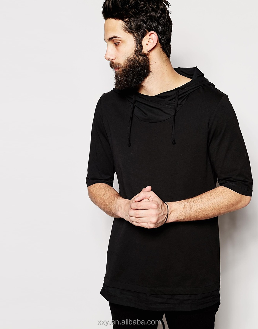 Mens Extra Long T Shirts Hood T-shirt With Fishtail In Relaxed ...