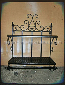 Home Bathroom Decor Accessory Storage 2 Tier Wall Mount Hotel Towel Racks Wrought Iron