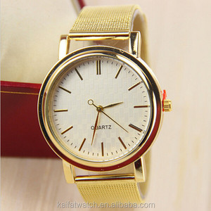 custom wholesale mesh stainless steel band luxury women and mens gold watches