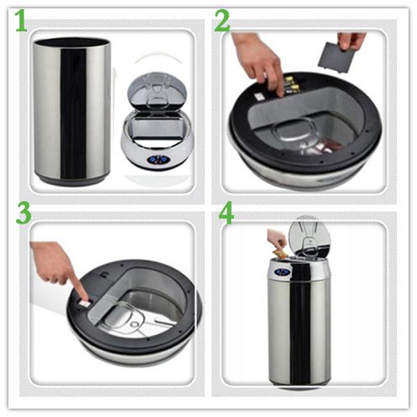 12L Coke Cans Stainless Steel Touchless Kitchen Rubbish Bins Garbage Can,  Sensor Trash Bin