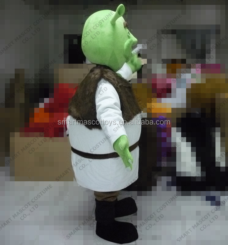 cartoon character green monster mascot costume for adult unisex soft plush good visual mascot costume