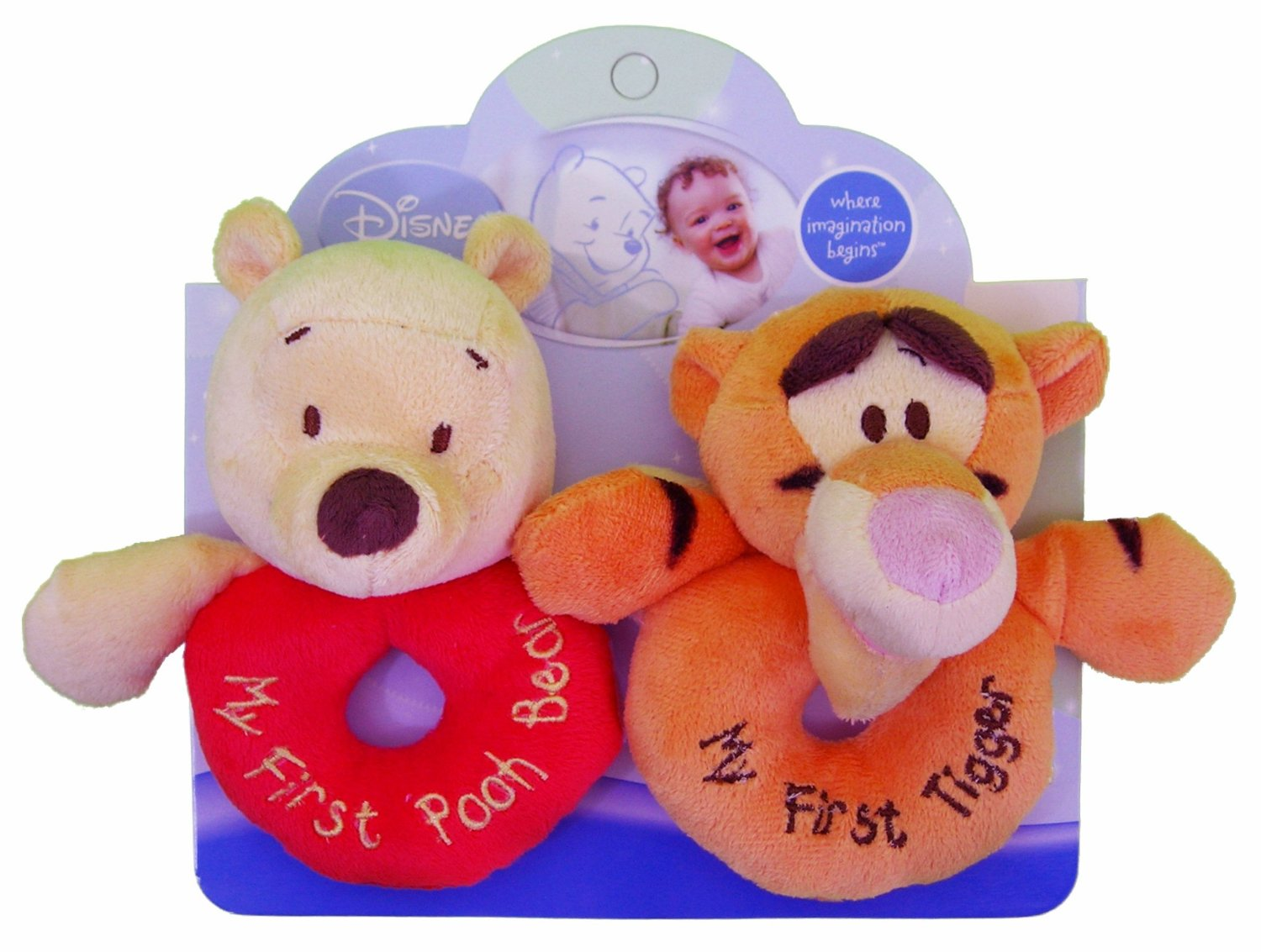 Kids Preferred Disney Baby, Plush Ring Rattles - Winnie the Pooh and Tigger