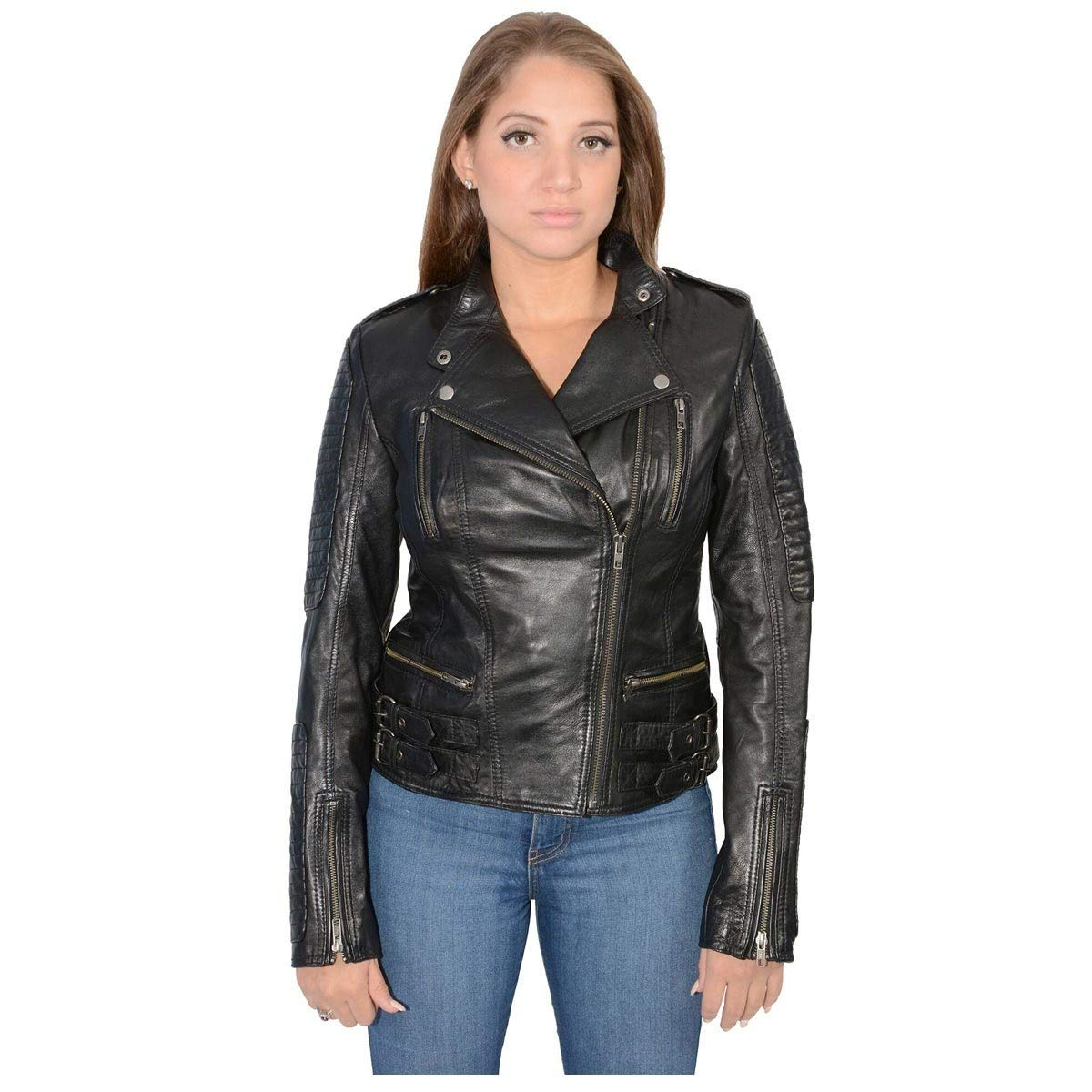 Milwaukee Leather Womens Quilted Black Lambskin Leather Jacket - 5X-Large