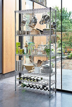 1601L- Heavy Duty Multi-functional Chrome 6 Tiers Pantry Metal Shelving