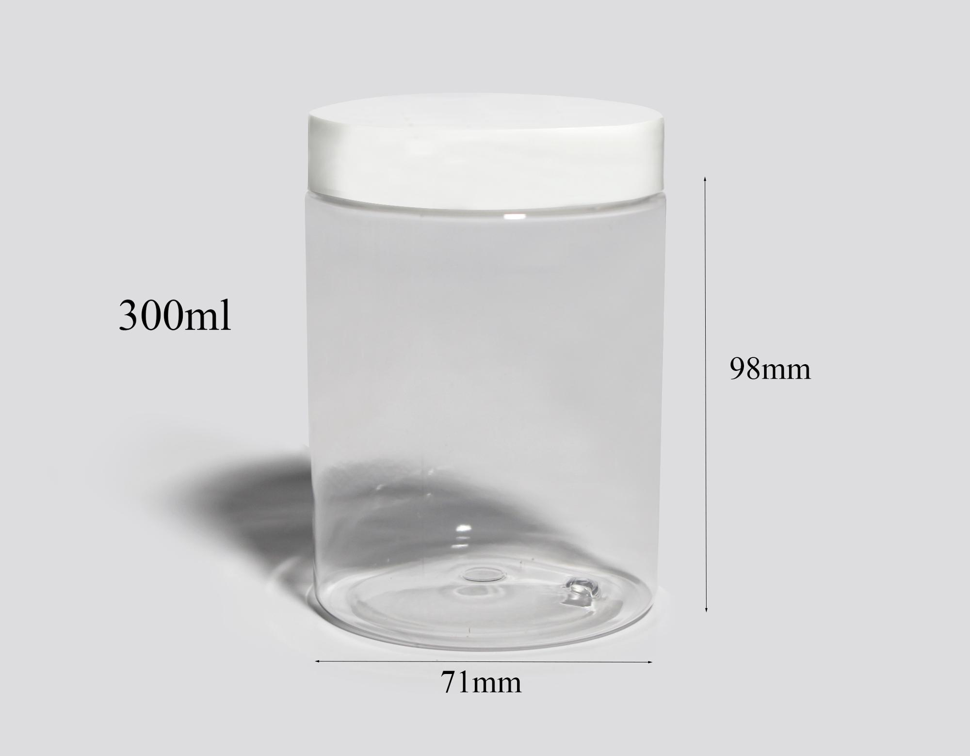300ml 10oz Wide Mouth Food Jar Cream Cosmetic Bath Salt Plastic PET jar with Aluminum Plastic Lid Cap