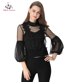 1a6fcf8033fd Latest Design Lady Sexy Transparent Tops New Model High Neck Chiffon Mesh  Blouse Party Night Club