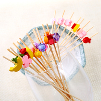 cute design bamboo plant sticks skewer fruit cocktail picks