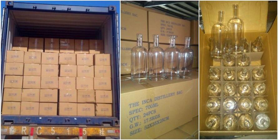 750ml 25oz yuvarlak siyah buzlu cam şarap şişesi özelleştirilmiş votka şişe alkollü alkol içecek flint cam şişeler