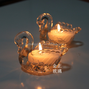 Crystal Swan Shaped Birthday Candle Container Glass Tealight Holder