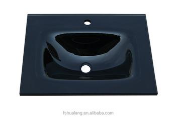 Zwarte rechthoekige gehard glas vanity wastafel badkamer countertop