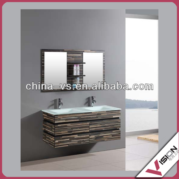 solid surface double glass sink bathroom vanity