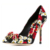 Wholesale hottest design elegant good look rhinestone decoration perfect flower print high heel women colorful dress shoes