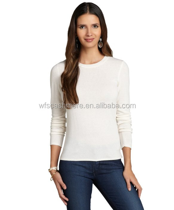 oem wholesale soft knitted crew neck pullover 100% cashmere sweater women