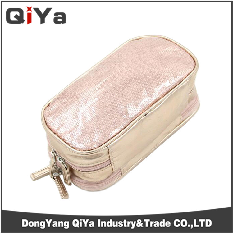 Wholesale Custom Shiny PU Leather Sewing Bead Material Beauty Cosmetic Bag Makeup Evening Dinner Pouch For Women Travelling