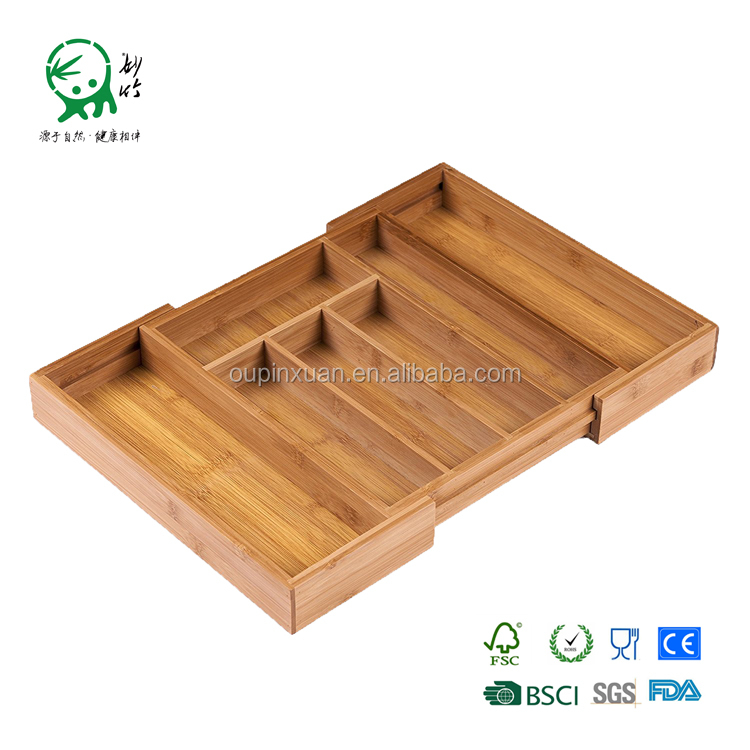 Wholesale expanded bamboo cutlery tray drawer organizer