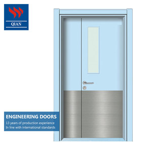 Durable leaf engineered HPL hospital HDF door skin flush doors with glass design for project