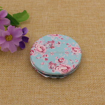 Round pu compact flowers cosmetic mirror pocket mirror custom made