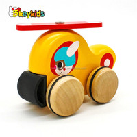 Wholesale yellow wooden cartoon toy bus for children W04A380