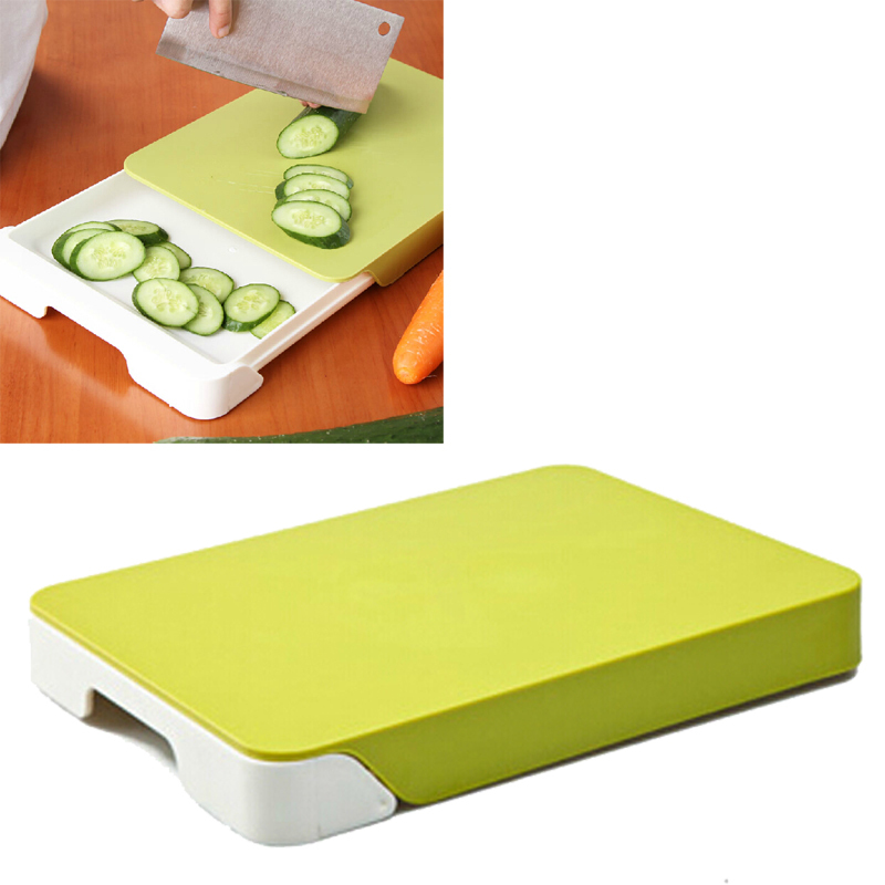 Get Quotations · Creative Multifunctional Fruit Vegetable Cutting Board  Double Deck Drawer Storage Chopping Block